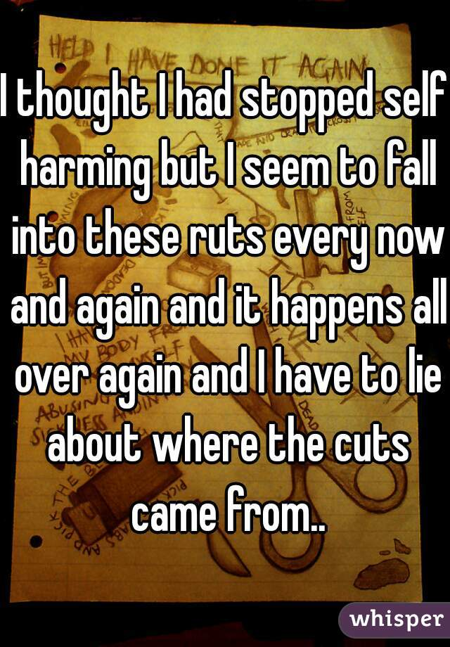 I thought I had stopped self harming but I seem to fall into these ruts every now and again and it happens all over again and I have to lie about where the cuts came from..