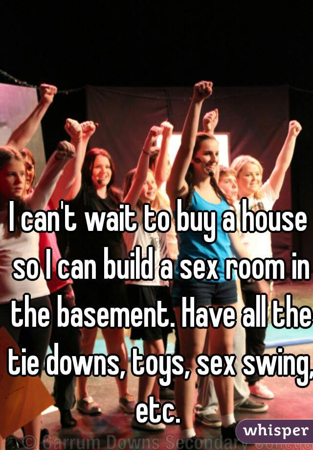 I can't wait to buy a house so I can build a sex room in the basement. Have all the tie downs, toys, sex swing, etc.