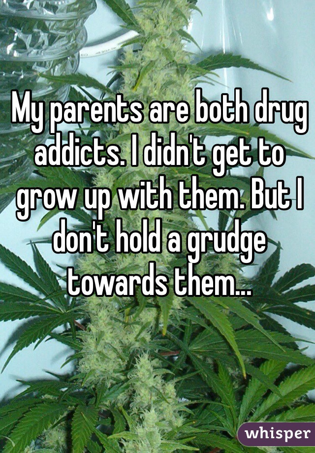 My parents are both drug addicts. I didn't get to grow up with them. But I don't hold a grudge towards them...