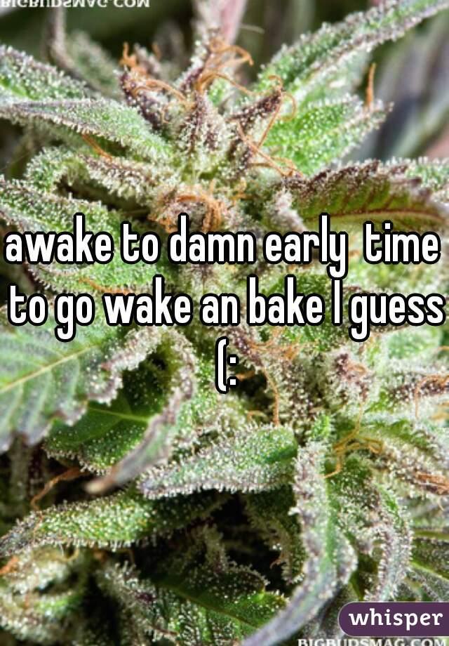 awake to damn early  time to go wake an bake I guess (:
