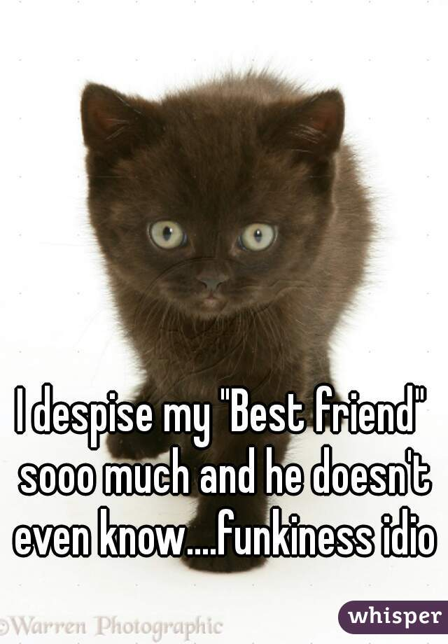 """I despise my """"Best friend"""" sooo much and he doesn't even know....funkiness idiot"""