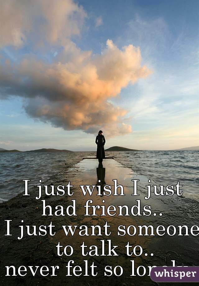 I just wish I just had friends..  I just want someone to talk to.. never felt so lonely..