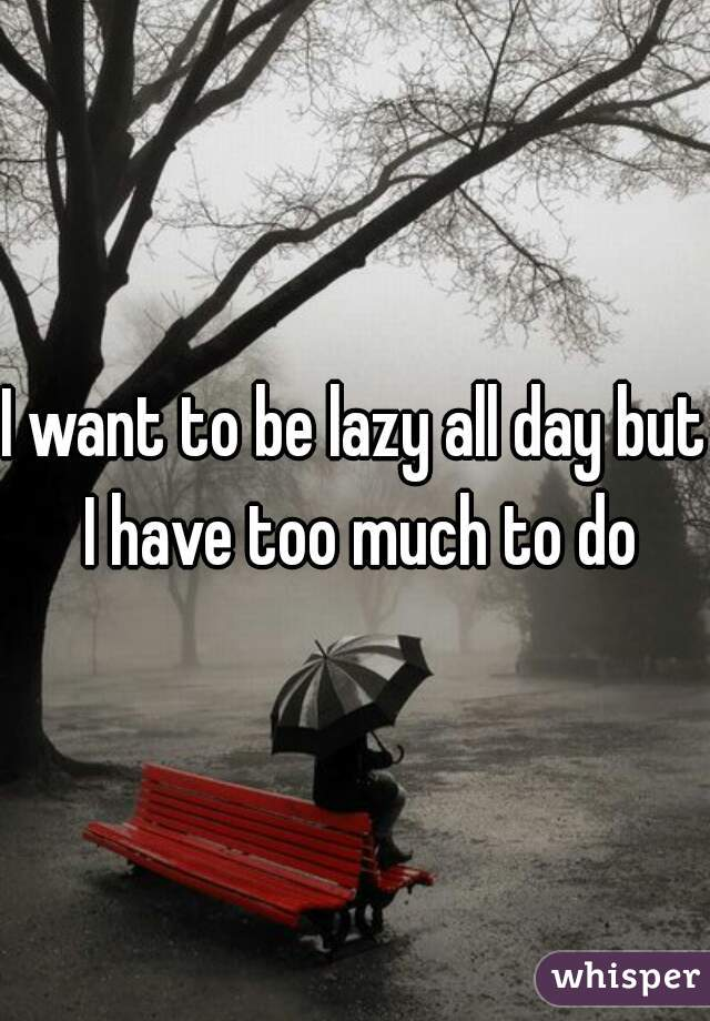 I want to be lazy all day but I have too much to do