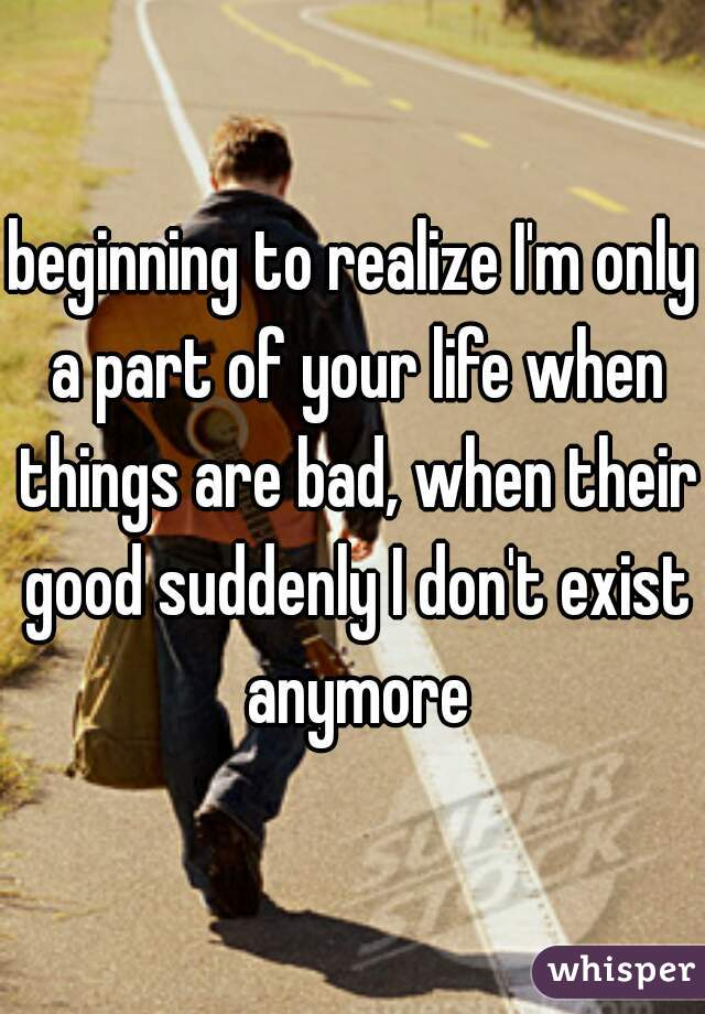 beginning to realize I'm only a part of your life when things are bad, when their good suddenly I don't exist anymore