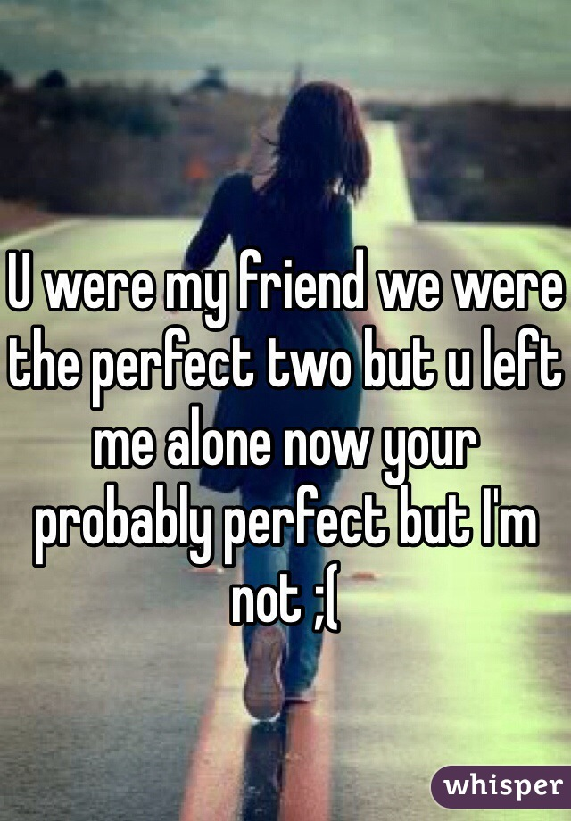 U were my friend we were the perfect two but u left me alone now your probably perfect but I'm not ;(