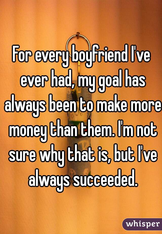 For every boyfriend I've ever had, my goal has always been to make more money than them. I'm not sure why that is, but I've always succeeded.