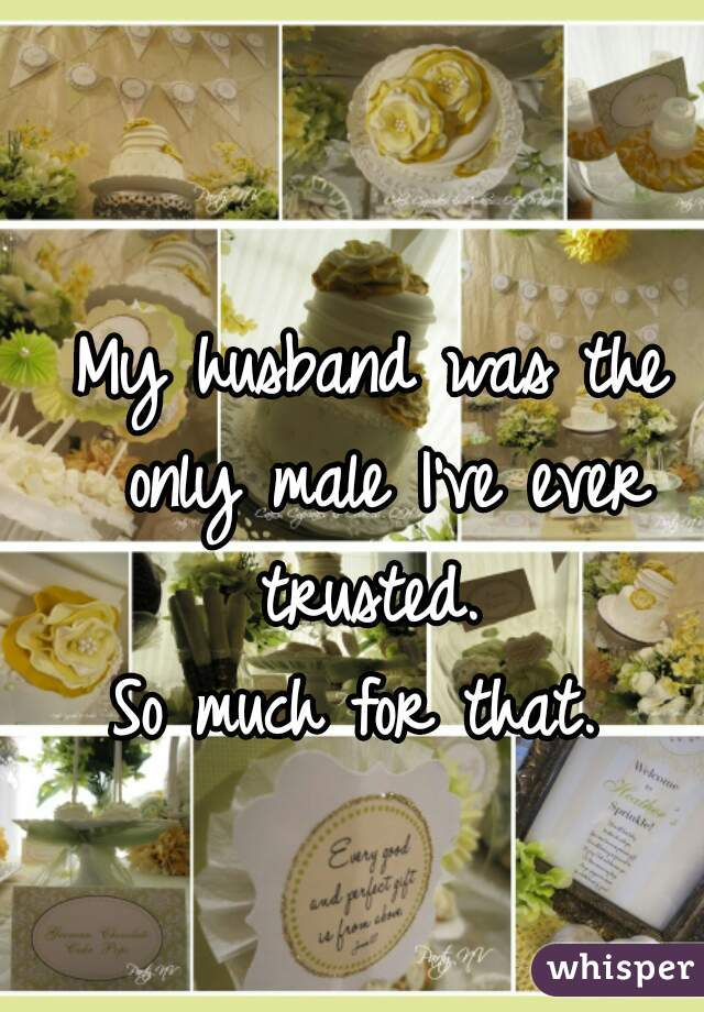 My husband was the only male I've ever trusted.  So much for that.