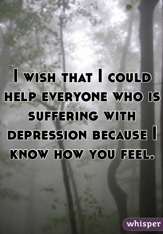 I wish that I could help everyone who is suffering with depression because I know how you feel.