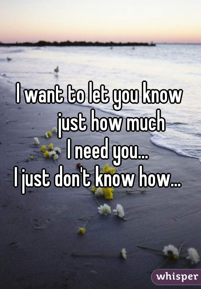 I want to let you know       just how much     I need you...  I just don't know how...