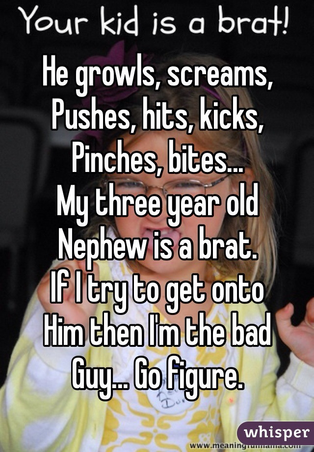 He growls, screams, Pushes, hits, kicks, Pinches, bites... My three year old Nephew is a brat. If I try to get onto Him then I'm the bad Guy... Go figure.