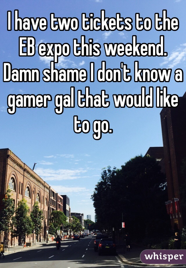 I have two tickets to the EB expo this weekend. Damn shame I don't know a gamer gal that would like to go.