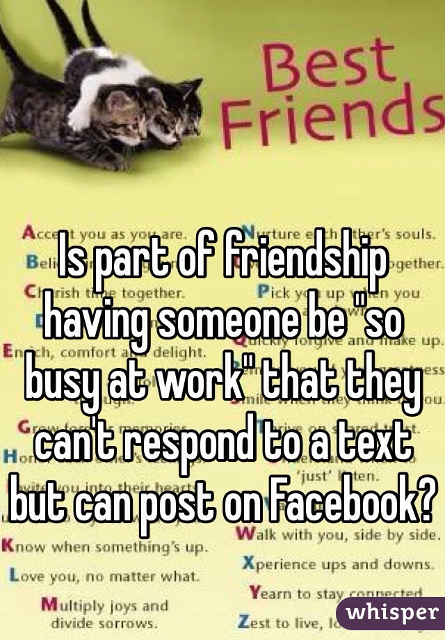 "Is part of friendship having someone be ""so busy at work"" that they can't respond to a text but can post on Facebook?"
