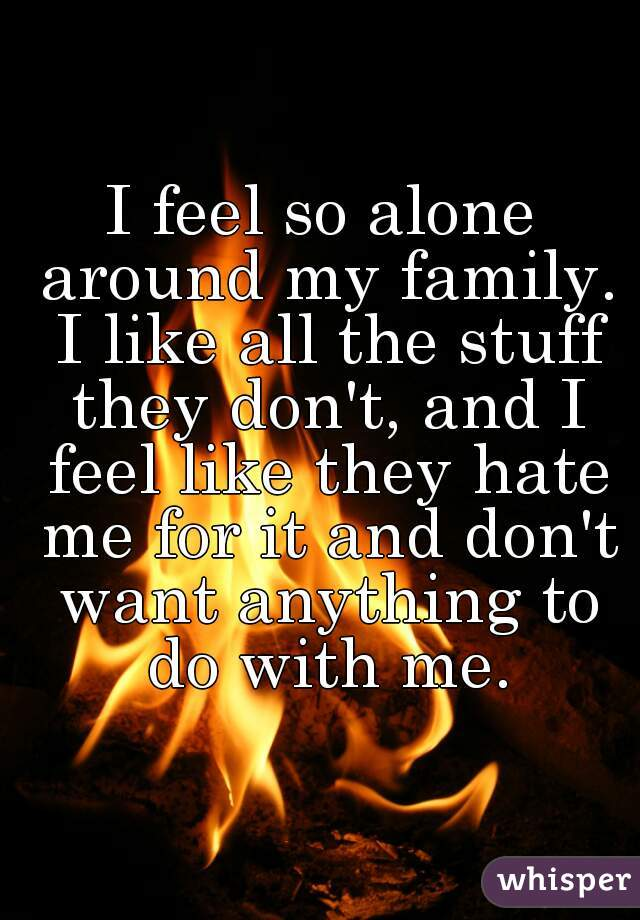 I feel so alone around my family. I like all the stuff they don't, and I feel like they hate me for it and don't want anything to do with me.