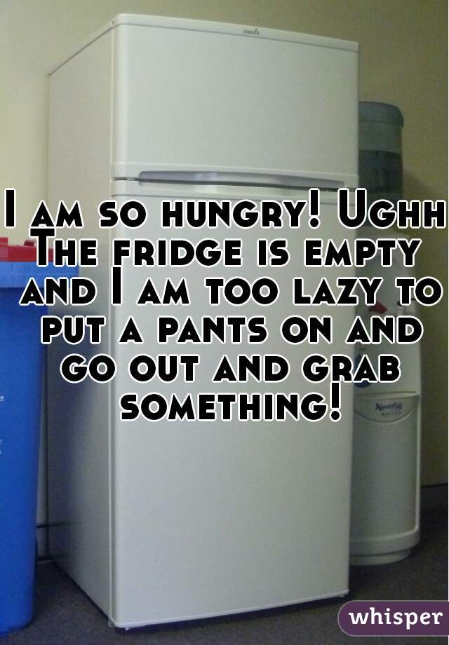 I am so hungry! Ughh  The fridge is empty and I am too lazy to put a pants on and go out and grab something!