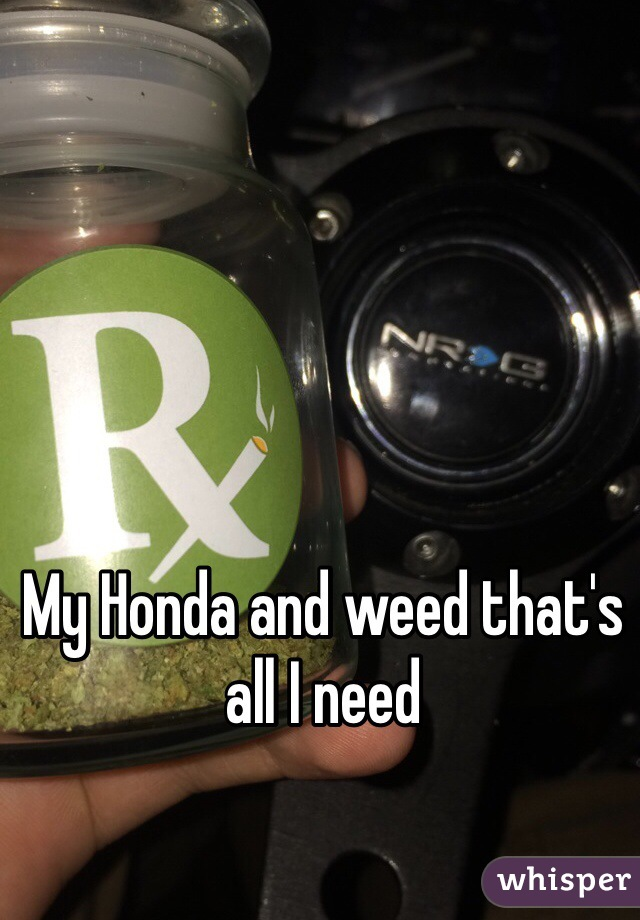 My Honda and weed that's all I need