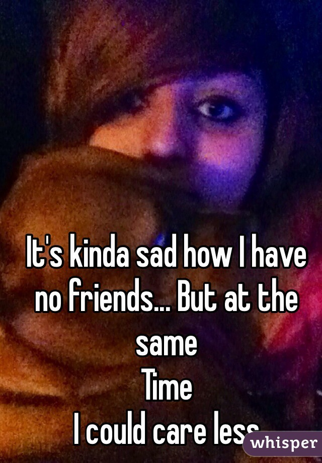 It's kinda sad how I have no friends... But at the same Time I could care less