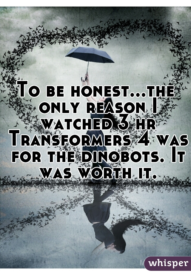 To be honest...the only reason I watched 3 hr Transformers 4 was for the dinobots. It was worth it.