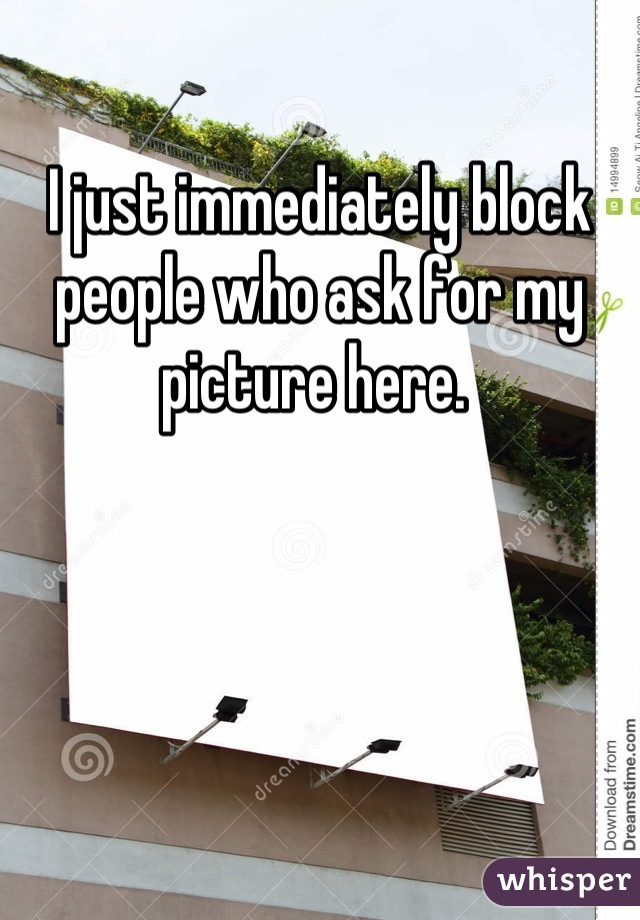 I just immediately block people who ask for my picture here.
