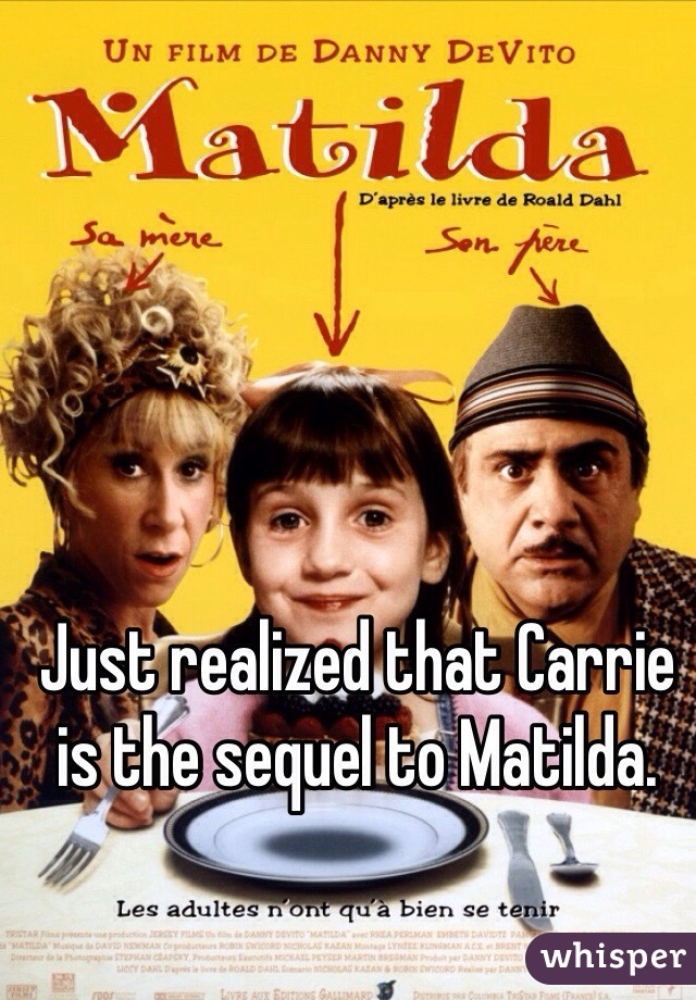 Just realized that Carrie is the sequel to Matilda.