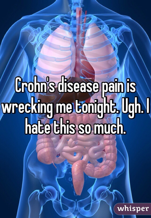 Crohn's disease pain is wrecking me tonight. Ugh. I hate this so much.
