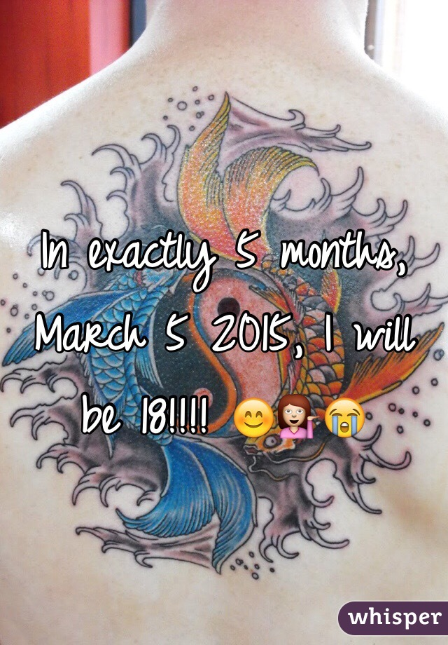 In exactly 5 months, March 5 2015, I will be 18!!!! 😊💁😭