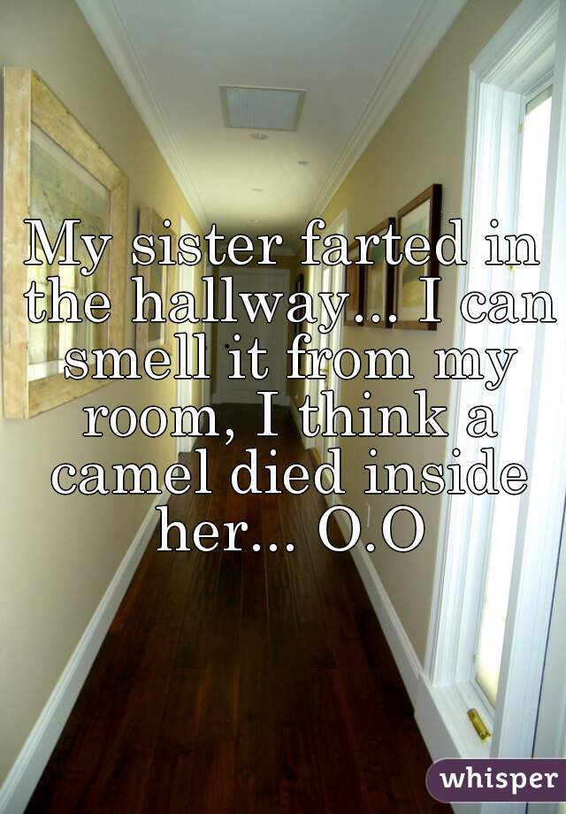 My sister farted in the hallway... I can smell it from my room, I think a camel died inside her... O.O