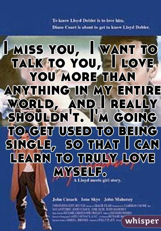 I miss you,  I want to talk to you,  I love you more than anything in my entire world,  and I really shouldn't. I'm going to get used to being single,  so that I can learn to truly love myself.