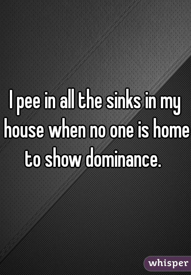 I pee in all the sinks in my house when no one is home to show dominance.