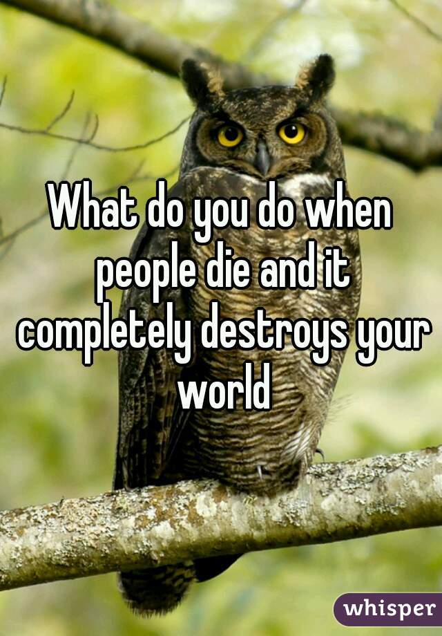 What do you do when people die and it completely destroys your world
