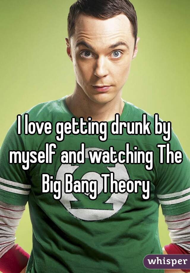 I love getting drunk by myself and watching The Big Bang Theory