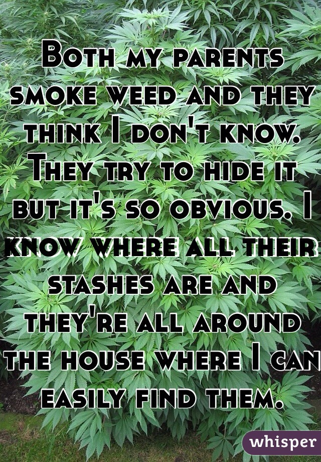 Both my parents smoke weed and they think I don't know. They try to hide it but it's so obvious. I know where all their stashes are and they're all around the house where I can easily find them.