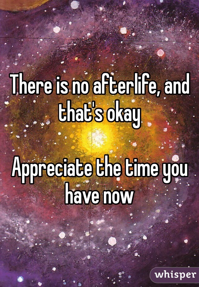 There is no afterlife, and that's okay  Appreciate the time you have now