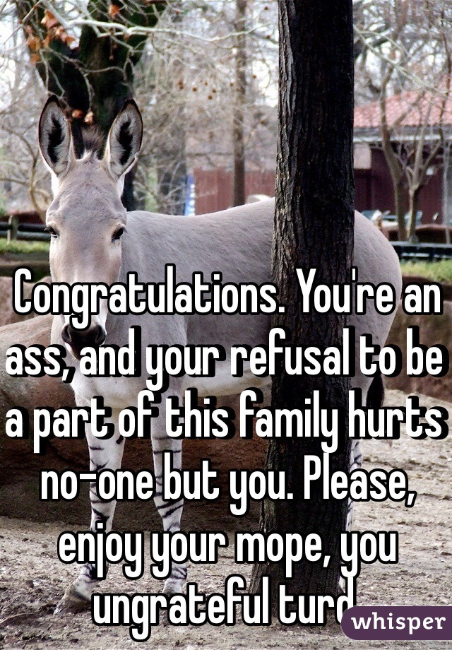 Congratulations. You're an ass, and your refusal to be a part of this family hurts no-one but you. Please, enjoy your mope, you ungrateful turd.