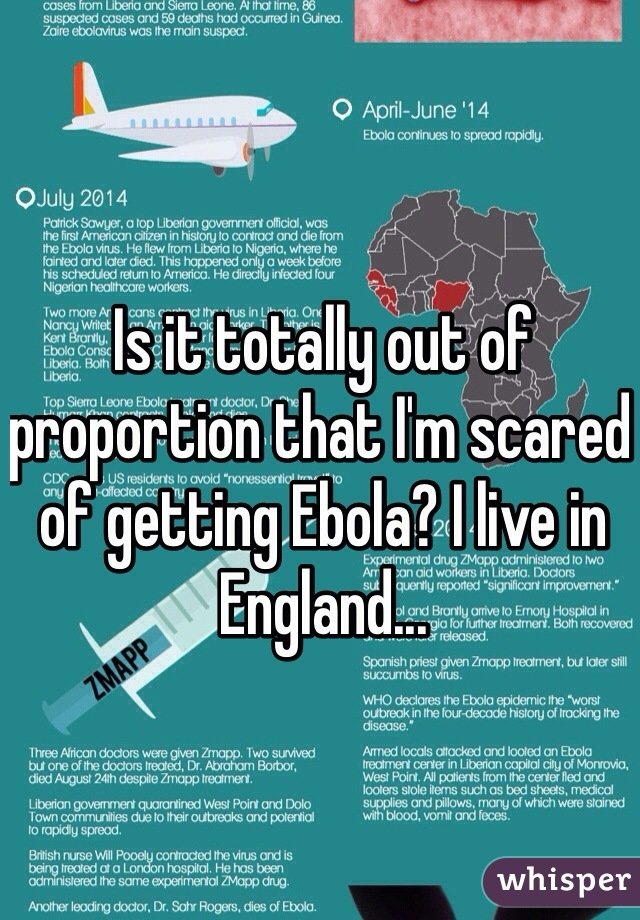 Is it totally out of proportion that I'm scared of getting Ebola? I live in England...