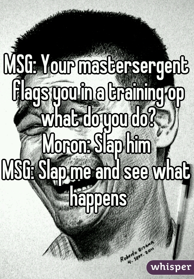 MSG: Your mastersergent flags you in a training op what do you do? Moron: Slap him MSG: Slap me and see what happens