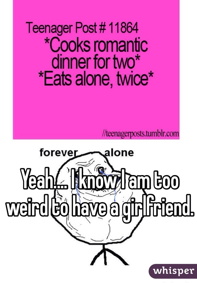 Yeah.... I know I am too weird to have a girlfriend.