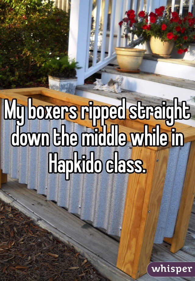 My boxers ripped straight down the middle while in Hapkido class.