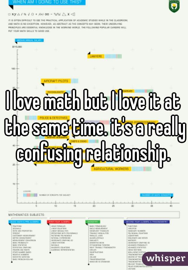 I love math but I love it at the same time. it's a really confusing relationship.