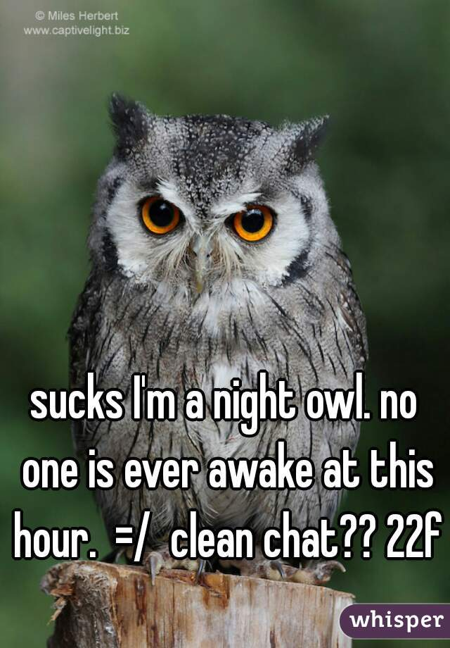 sucks I'm a night owl. no one is ever awake at this hour.  =/  clean chat?? 22f
