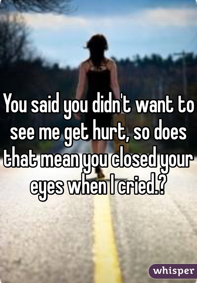 You said you didn't want to see me get hurt, so does that mean you closed your eyes when I cried.?