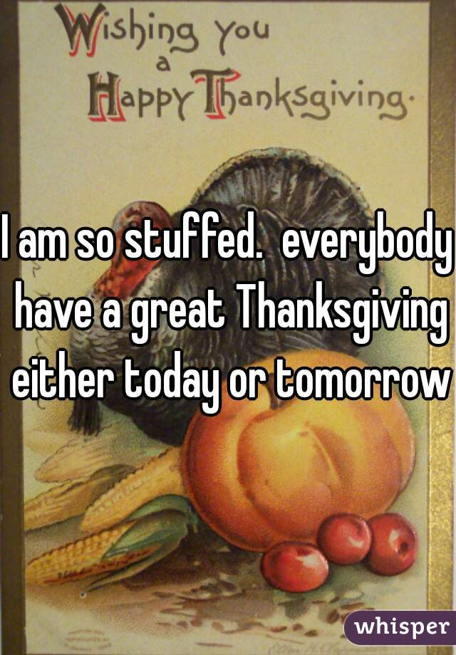 I am so stuffed.  everybody have a great Thanksgiving either today or tomorrow