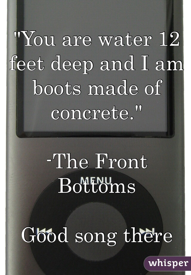 You Are Water 12 Feet Deep And I Am Boots Made Of Concrete The Front Bottoms Good Song There