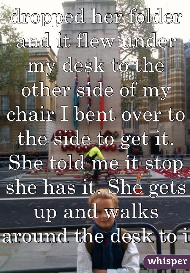Theme, girl bent over chair something is