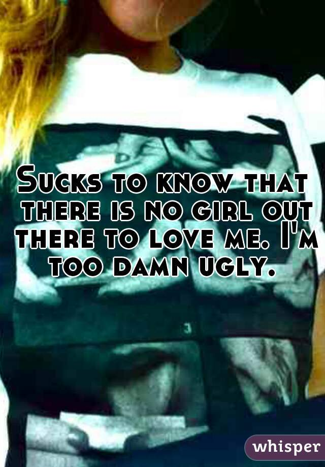 Sucks to know that there is no girl out there to love me. I'm too damn ugly.