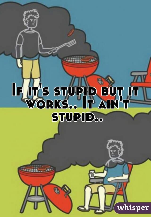 If it's stupid but it works.. It ain't stupid..