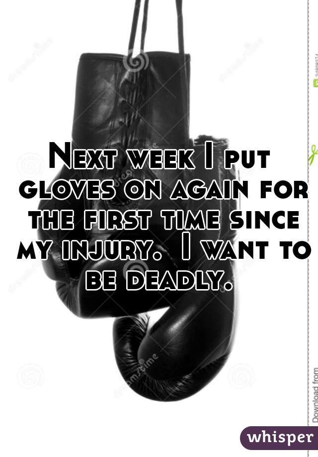 Next week I put gloves on again for the first time since my injury.  I want to be deadly.