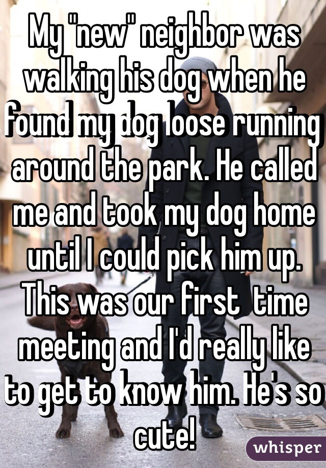 """My """"new"""" neighbor was walking his dog when he found my dog loose running around the park. He called me and took my dog home until I could pick him up. This was our first  time meeting and I'd really like to get to know him. He's so cute!"""