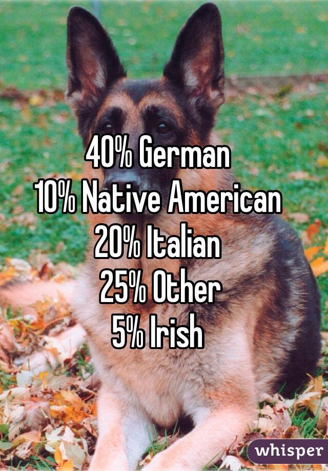 40% German 10% Native American 20% Italian  25% Other 5% Irish