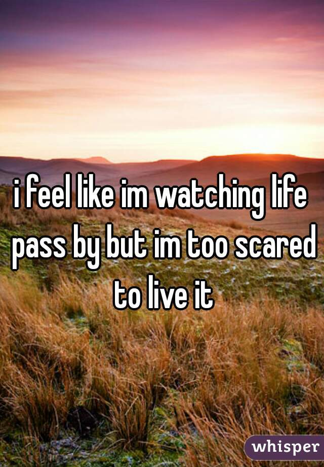 i feel like im watching life pass by but im too scared to live it