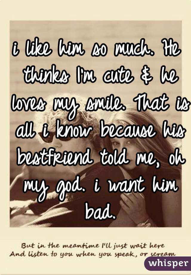 i like him so much. He thinks I'm cute & he loves my smile. That is all i know because his bestfriend told me, oh my god. i want him bad.